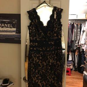 NWT Tadashi Shoji lace dress navy with nude lining